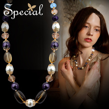 Special Necklaces Natural Pearls  Crystal Autumn New Arrive Purple Chian Pendants Free Shipping Gifts XL14A102205