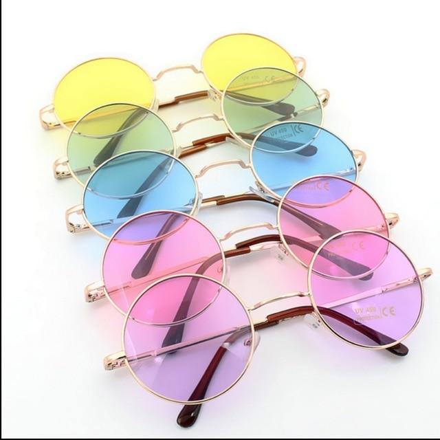 2015 Retro oculos de sol femininos multi Transparent Color Vintage Round  Sunglasses Glasses Hippie Shades Lennon Ozzy 60s 70s 69e81f7e25