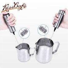 Нержавеющая сталь, двойной пружинный венчик, Электрический вспениватель молока, ручной вспениватель молока, Миксер для напитков, для кофе, капучино