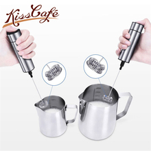 цена Stainless Steel Double Spring Whisk Head Electric Milk Frother Handheld Milk Foamer Drink Mixer for Coffee Cappuccino