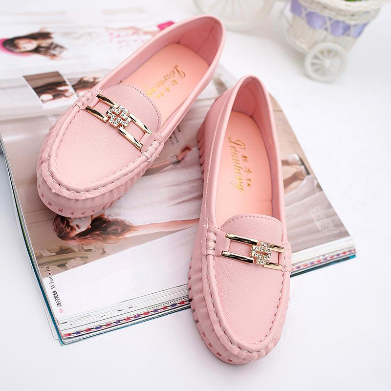 2017 Pu Leather Ballet Flats Shoes Woman Sweet Soft Casual Women Flats Slip On Round Toe Women's Pregnant Flat Shoes Female Pink  women shoes women ballet flats shoes for work flats sweet loafers slip on women s pregnant flat shoes oversize boat shoes d35m25