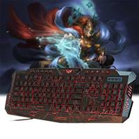 A878 English Wired Keyboard Gaming Keyboards 3 Backlight Modes Russia Version Fire Cracks USB Keyboard Powered for Loving Gam