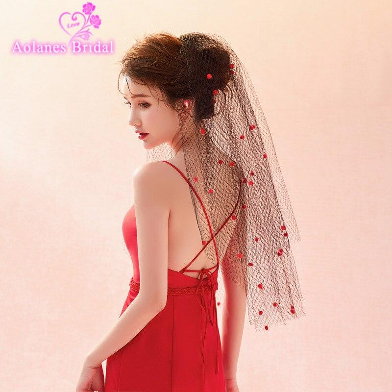 AOLANES 2018 New Arrival Black Applique Cut Edge Bridal Veils Multi-layer Short Wedding Veil Wedding Accessories Veu De Noiva