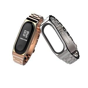 Image 4 - Mi Band 5 Strap Global NFC Metal Stainless Steel Strap For Xiaomi Mi Band 4 Bracelet MiBand 3 Strap Wristband Smart Watch  Wrist