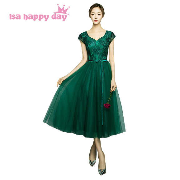 green dress special occasion short tea length v neck prom women guest sister of the bride dresses 2019 new arrival H4110