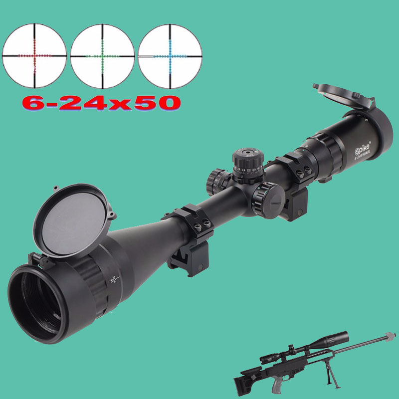 6-24X50 Accurate Red Green Dot Sight Scope Illuminated Optical Rifle Scope Front And Rear Hunting Sites Riflescope For Airsoft цена