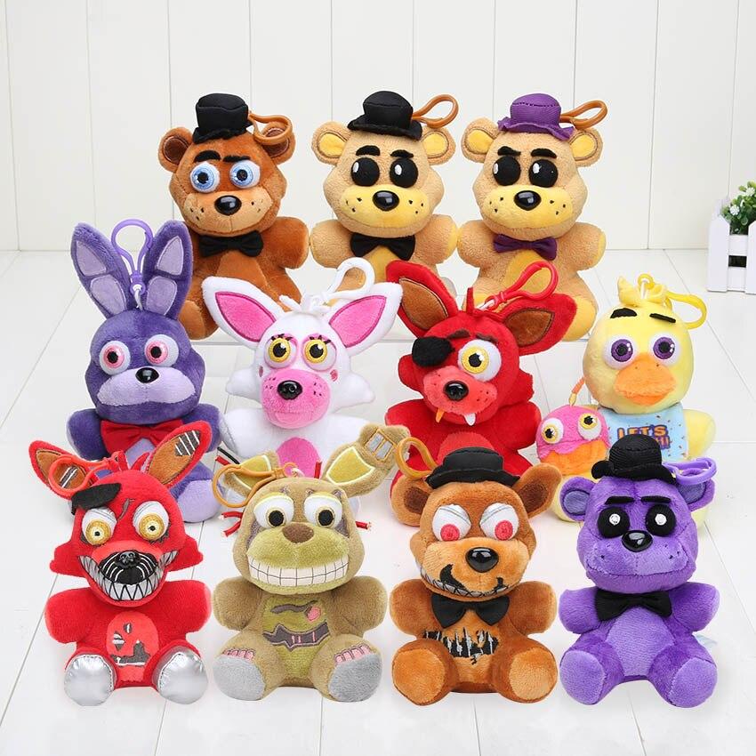 11pcs lot 14cm Five Nights At Freddy 4 toy keychian FNAF plush doll Fazbear Nightmare Fredbear