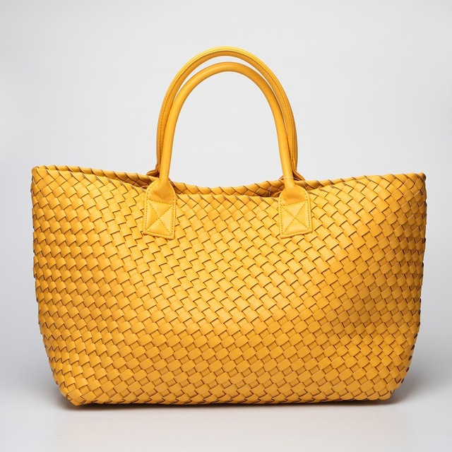 Fashion Luxury Premium Faux Leather Woven Cabat Tote Bag High Quality Handbags Candy Color Women Shoulder