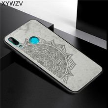 For Huawei Y7 2019 Shockproof Soft TPU Silicone Cloth Texture Hard PC Phone Case Back Cover