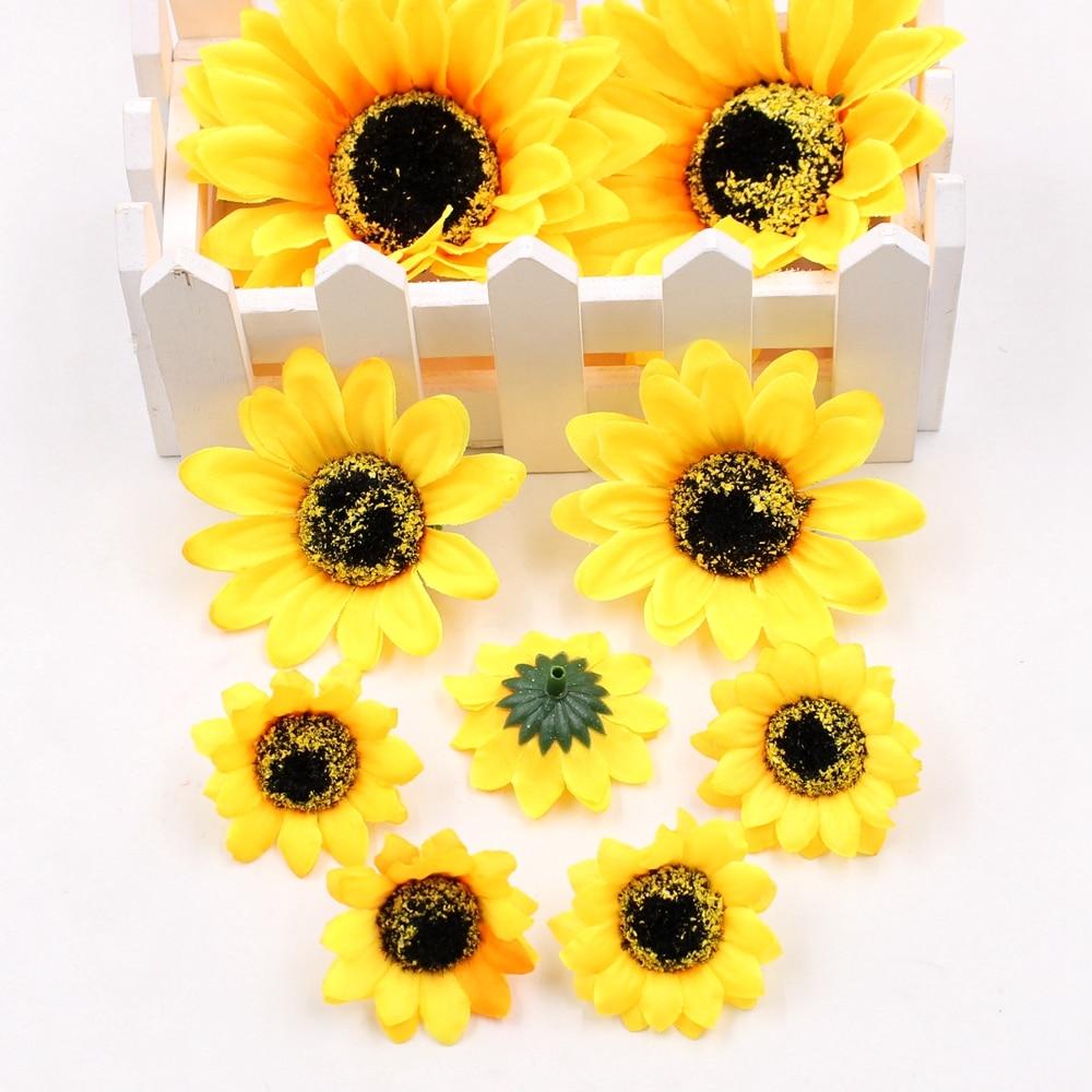 Fleurs artificielles en soie tournesol 5 pièces/lot   Décoration de maison de mariage, bricolage couronne scrapbook, décoration de boîte cadeau, fausses fleurs
