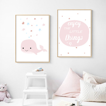 Cute Baby Posters And Prints Nursery Pictures For Girls Room Poster Quote Wall Art Kids Whale Unframed