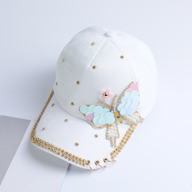 summer cap hat women ponytail Baseball Cap Women Snapback adjustable hip pop cap with metal ring butterfly sequins baseball hats in Women 39 s Baseball Caps from Apparel Accessories