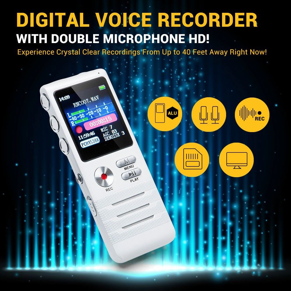 8GB Digital Voice Recorder with Double Microphone HD Recording Premium Metal Case Mic and Dictaphone USB