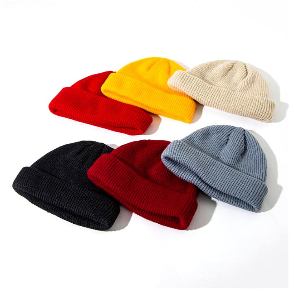 0330013a99a New Men Knitted Skullcap Casual Short Wool Women Thread Hip Hop Hat Beanie  Skullcap Retro Navy Fashion Warm Beanie Skullcap