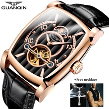 лучшая цена New GUANQIN Brand Mechanical Watches Men Luxury Tourbillon Skeleton Automatic Watch Rectangle Leather Gold Male Clock Man 2018