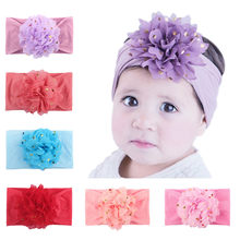 ir bands for baby girls Unisex headwear kids Chiffon flower stretch Cute princess Accessories Headwear Baby Gifts L0612(China)
