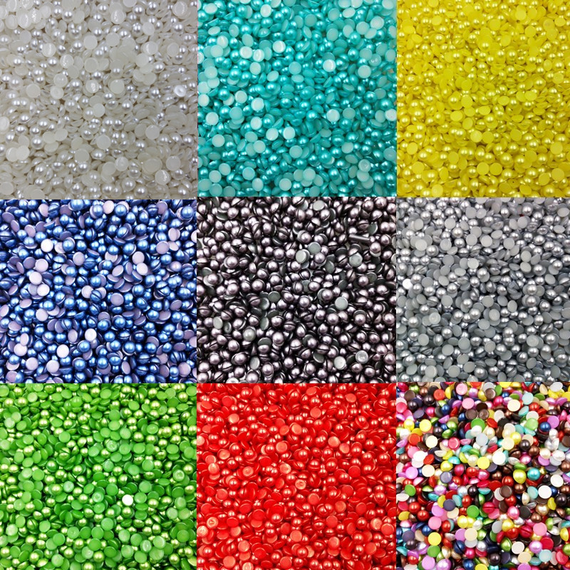 Beads & Jewelry Making Fine Lnrrabc About 8mm 100 Piece/lot Half Round Imitation Pearl Beads Colorful Diy Nail Art Wedding Dress Flatback Cabochons Aesthetic Appearance