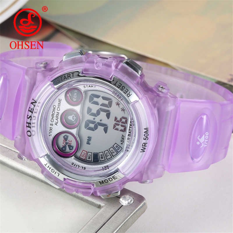 OHSEN Children Wristwatches Digital Kids Sports Watches Waterproof Quartz Dual Display Watch Brand Clock Student Female G Style