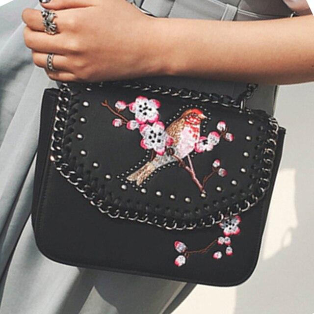 da1dba2bd Vintage Women rivets bag star chain bag embroidery Happy bird handbags wild  tide Women Shoulder Bag Lady Fashion Crossbody Bag