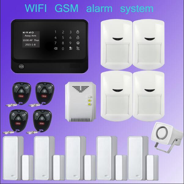 433mhz G90B WiFi GSM GPRS SMS Home House Burglar Security Fire Alarm System Detector Sensor Kit with Gas Detector Door wireless d025 door window gap sensor detector with battery for gsm alarm system home security wifi gsm burglar alarm 433mhz