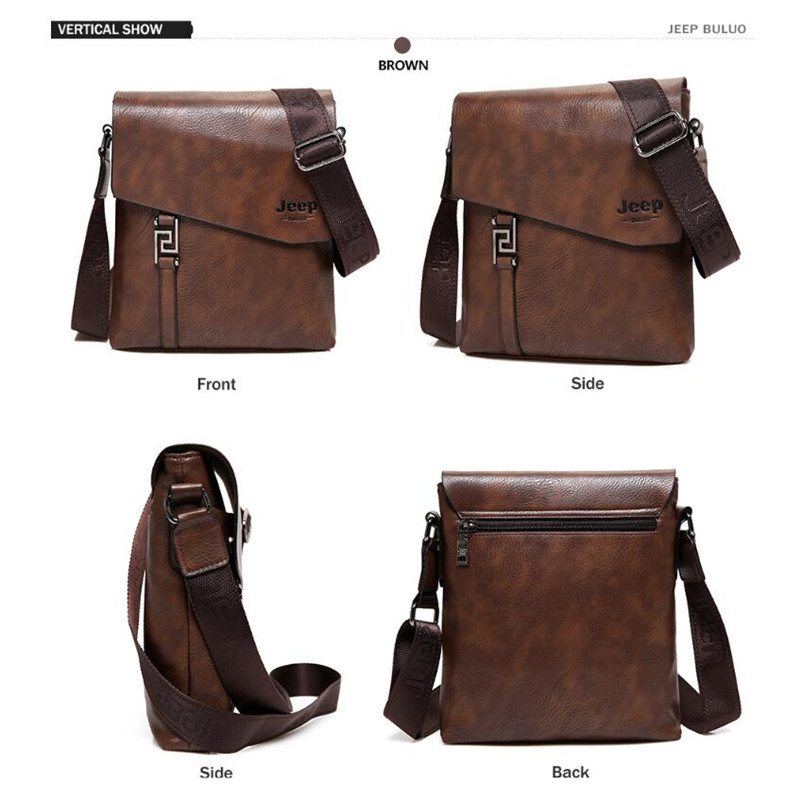 Image 4 - JEEP BULUO Fashion Men Bags Waterproof Cow Split Leather Messenger Bag Business Briefcase Crossbody Bags Male Shoulder Bag 5846