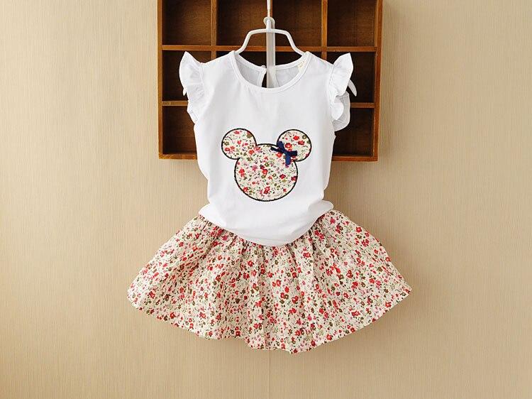 Retail 2016 Summer New Kids Girls Clothing Set mickey bear Tops + floral Dress Girls Suits Set summer Children Girl Clothes