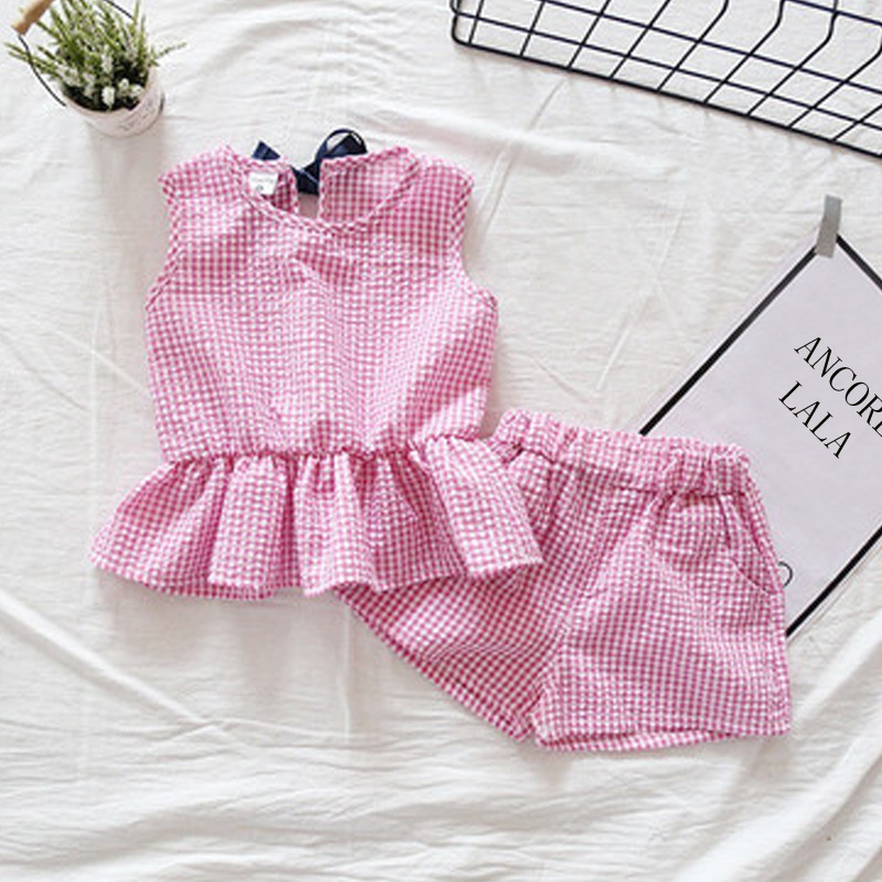 Summer Children Clothing Baby Kids Clothes for Girls Cotton Small Lattice Suit Set Ruffle Vest T-shirt Girls Shorts 2pc Sets 2016 summer style kids clothes boys set t shirt shorts pants 2pc fashion children clothing cotton child suit for wedding costume page 9 page 2 page 10