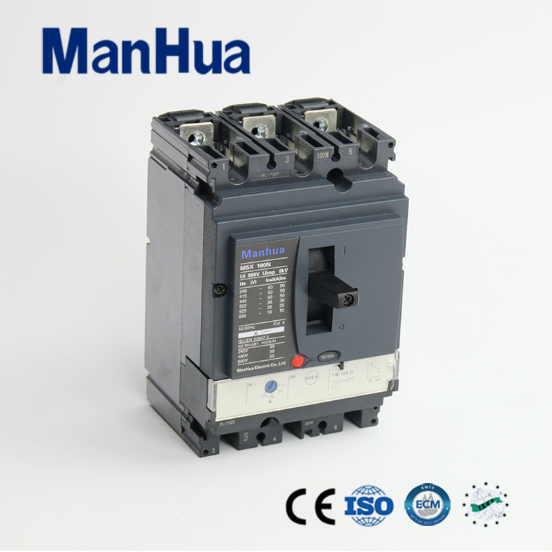 Manhua CB CE certificated 36kA breaking capacity adjustable Moulded case Circuit Breaker 100A 400 amp 3 pole cm1 type moulded case type circuit breaker mccb