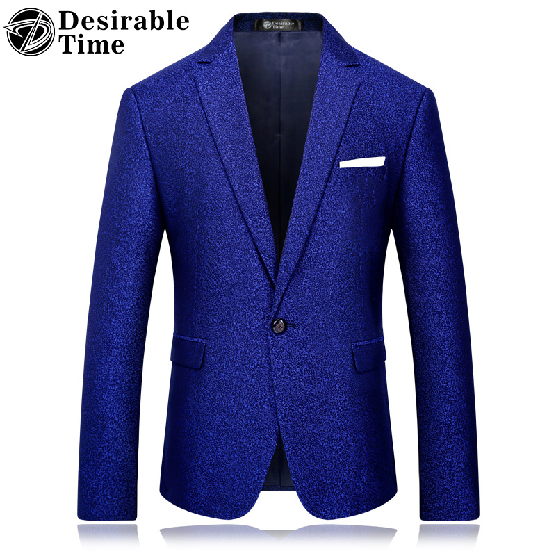 Men slim fit royal blue blazer m 4xl stage costumes for singers autumn new arrival party