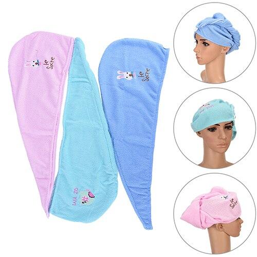 1pc Ladies Bathroom Hair Drying Cap Super Water-absorbent Microfiber Hair Towel Makeup Cosmetics Bath Cap For Women Ponytail Hat Home Improvement Bathroom Fixtures