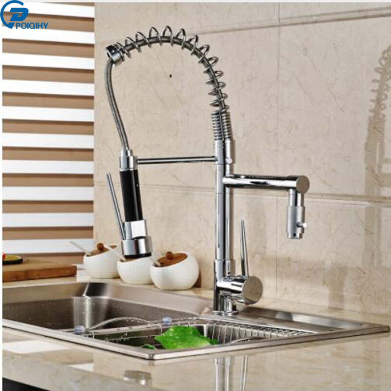 POIQIHY Chrome Finish Kitchen Sink Faucet Pull Down Spring Single Handle One Hole Hot and Cold Water Tap kitchen chrome plated brass faucet single handle pull out pull down sink mixer hot and cold tap modern design