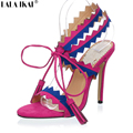 Sexy Gladiator Sandals Women 12 cm Fringe Heels 2016 Lace up High Heel Sandals Gladiator Heels Shoes Woman Summer XWF0841-4