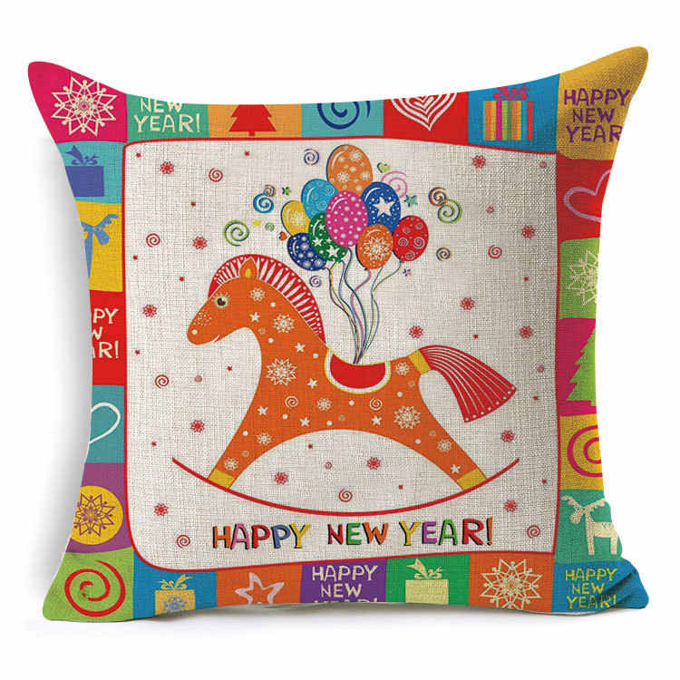 1 Pcs 43*43 ซม. Christmas Deer ของขวัญรูปแบบผ้าฝ้ายลินินโยนหมอน Cushion Cover รถโซฟาหน้าแรกตกแต่งปลอกหมอน 40484