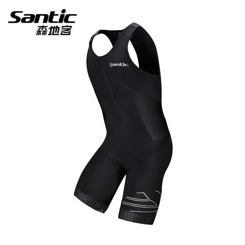 Santic Men Triathlon Skinsuit Sleeveless Jersey Padded Cycling Swimming Running