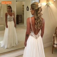 Elegant Boho V Neck Bride Dresses Long 2019 New Chiffon Backless Wedding Gowns Sleeveless Appliques Top Lace Beach Wedding Dress
