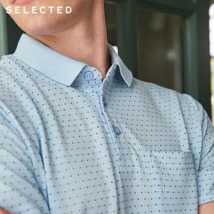 Image 4 - Geselecteerd Mannen Zomer Kleine Stippen Turn Down Kraag Korte Mouwen Poloshirt S