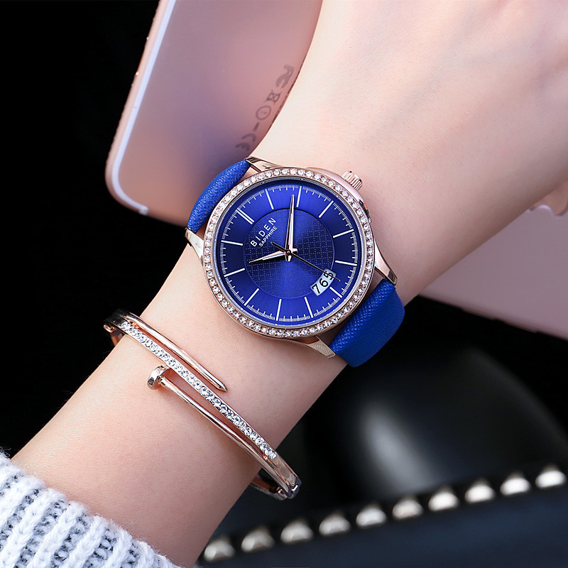 Biden brand ladies wristwatches quartz genuine leather blue red black brown womens watches waterproof calendar fashion clocks red clocks page 2