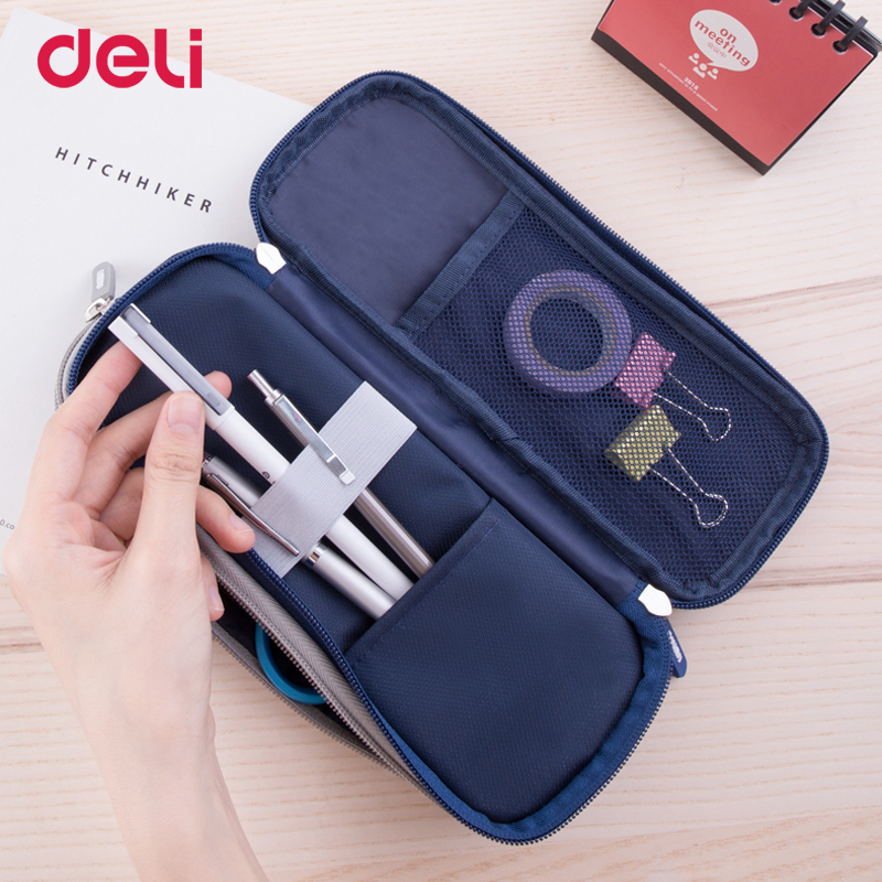 Deli durable canvas <font><b>kawaii</b></font> <font><b>school</b></font> <font><b>pencil</b></font> <font><b>case</b></font> <font><b>big</b></font> capacity office organizer stationery supply cute pen bag pouch box with zipper image