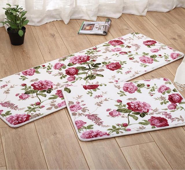 1setu003d2pcs Anti Slip Memory Foam Bathroom Carpet Set Washable Kitchen Mat  Bedroom Living