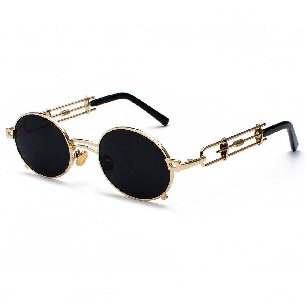 Coucou rétro steampunk lunettes de soleil hommes ronde vintage 2018 métal  cadre or noir ovale lunettes 6cf77ee22ec0