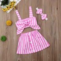Одежда для маленьких девочек, летний топ в полоску + короткая юбка + повязка на голову, комплект одежды из 3 предметов