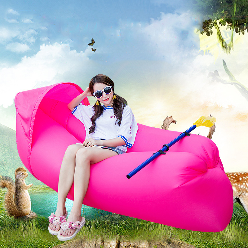 Fashion colorful Shaded air sofa lazy sleeping bag portable outdoor beach shade inflatable sofa bed With paddle folding air bag sofa portable inflatable sofa lazy sofa outdoor beach easy use fashion swim bed toy camping travel supply gift