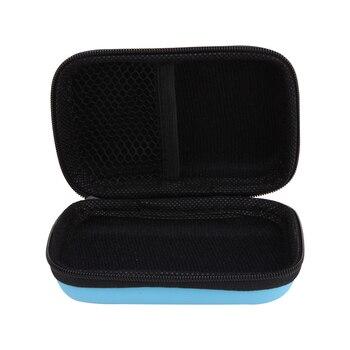 Hot Sale Blue Mini Zipper Hard Headphone Case,EVA Leather Earphone Bag,Protective Usb Cable Organizer Box