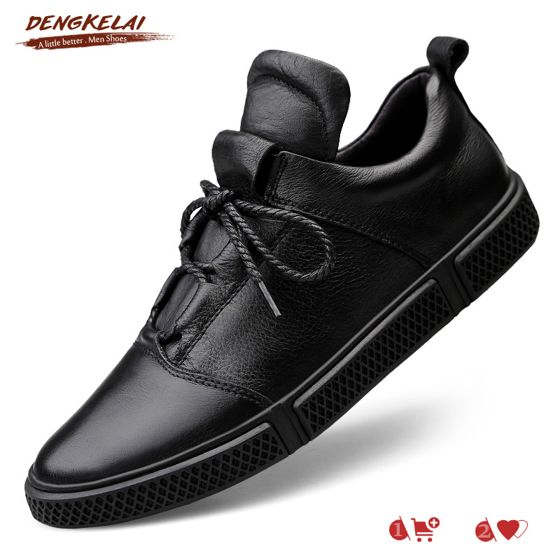 Dengkelai Real Leather-based Informal Footwear For Males Giant Measurement Footwear Rubber Sole Males Leather-based Footwear Luxurious Model Sneakers 2019