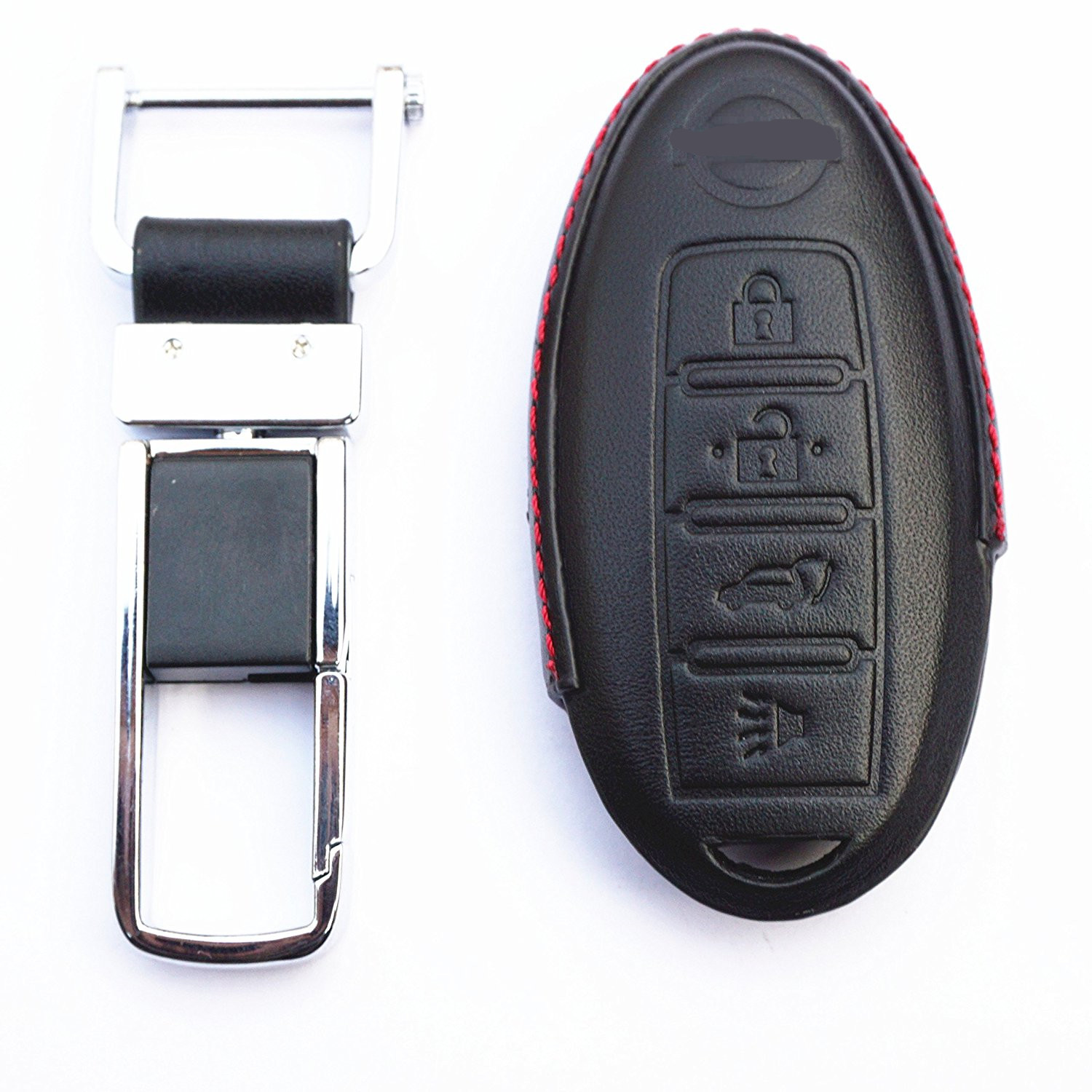 WFMJ Leather 4 Buttons Key Chain Cover Case For Nissan 350Z 370Z Pathfinder Versa Maxima Altima Armada Rogue Sentra Murano GT-R
