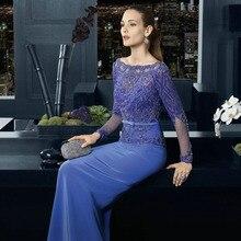 Mode Blau Abendkleider Mit Langen Ärmeln mit Schwer Gefrieste Sexy Weg Von Der Schulter Prom Kleider Neue Ankunft Formale Kleider