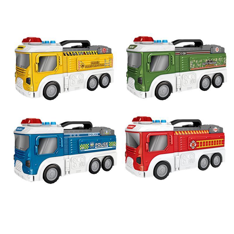 Assembler de grandes voitures de jouets de camion de pompier bricolage bâtiment voiture véhicule ville piste ensembles avec lumière et son pistes jouets cadeau