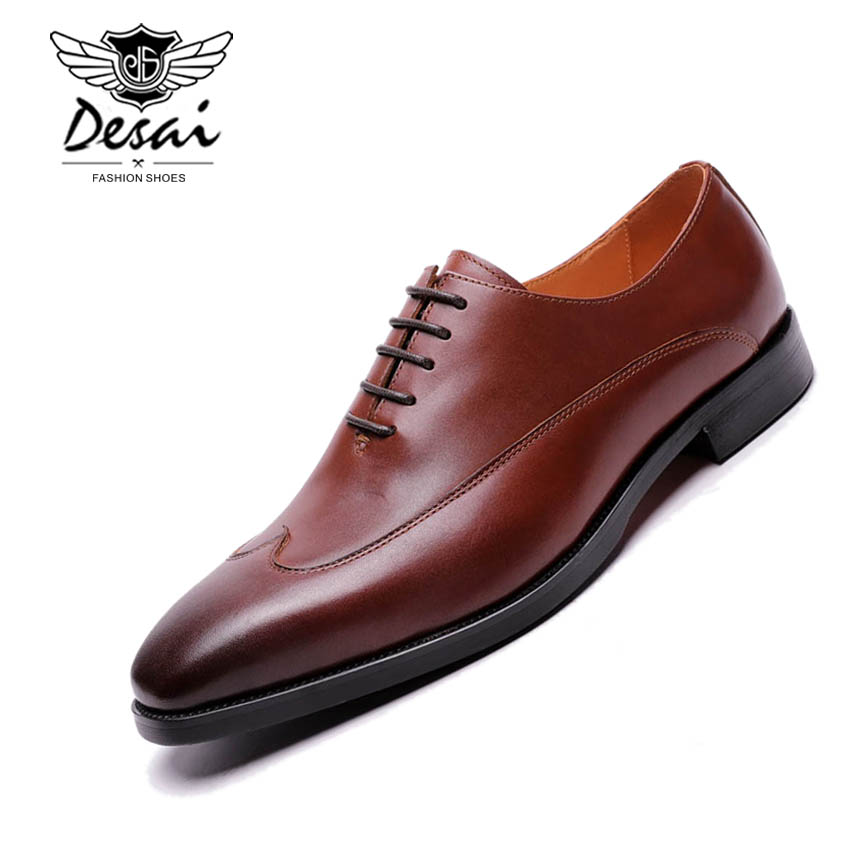 2019 Spring New Calf Waxed Leather Oxford Shoes Men Business Dress Shoes Genuine Leather Retro Wedding Shoes Brown Laces Formal