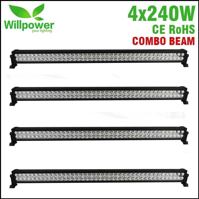 4 pcs 12v aluminum housing 42 inch 240W 4x4 work driving light car offroad led light