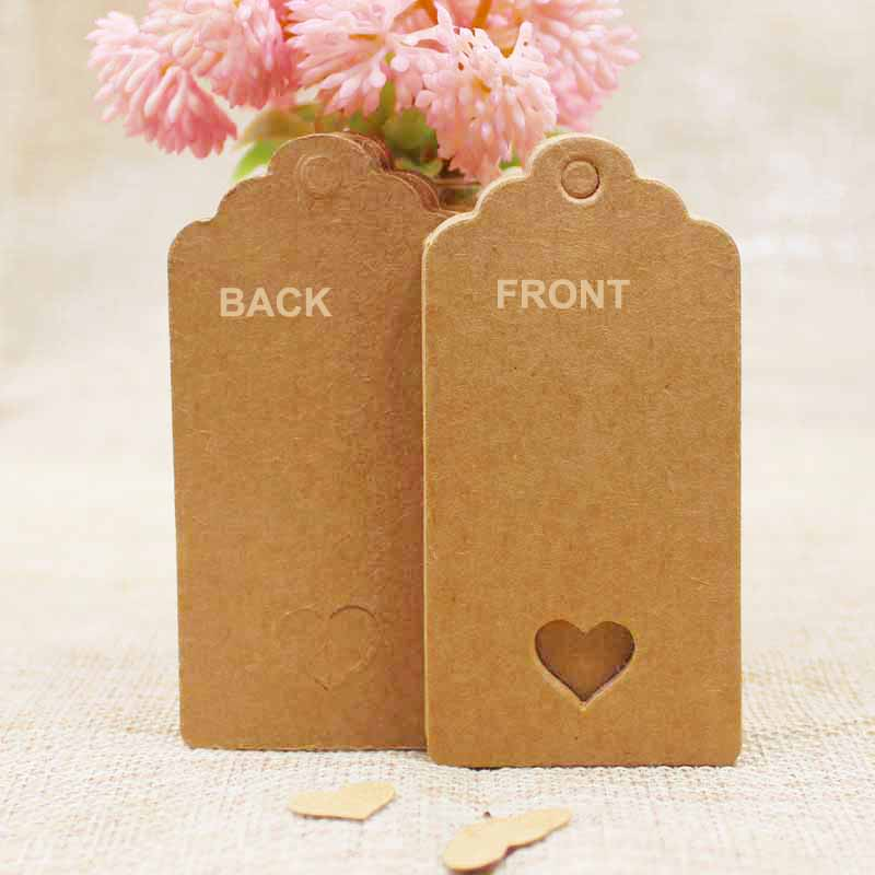 100pcs+100string 8*4cm new kraft /black Wedding NoteTags Scallop Head Label Luggage DIY Blank price Hang Tag with heart cut tag